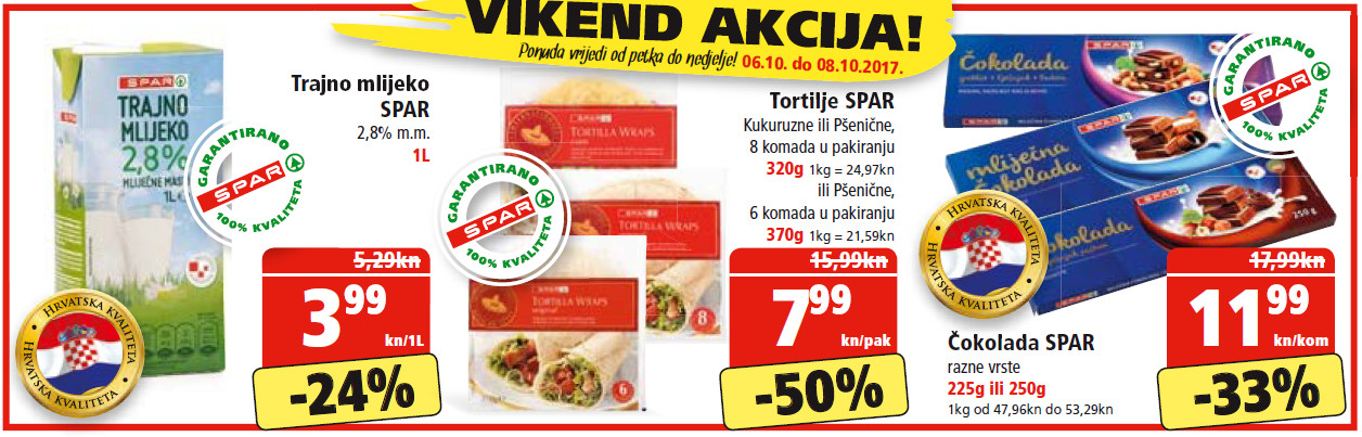 Ne propustite nova vikend sniženja od 06.- 08.10.2017. u Spar i Interspar supermarketima.