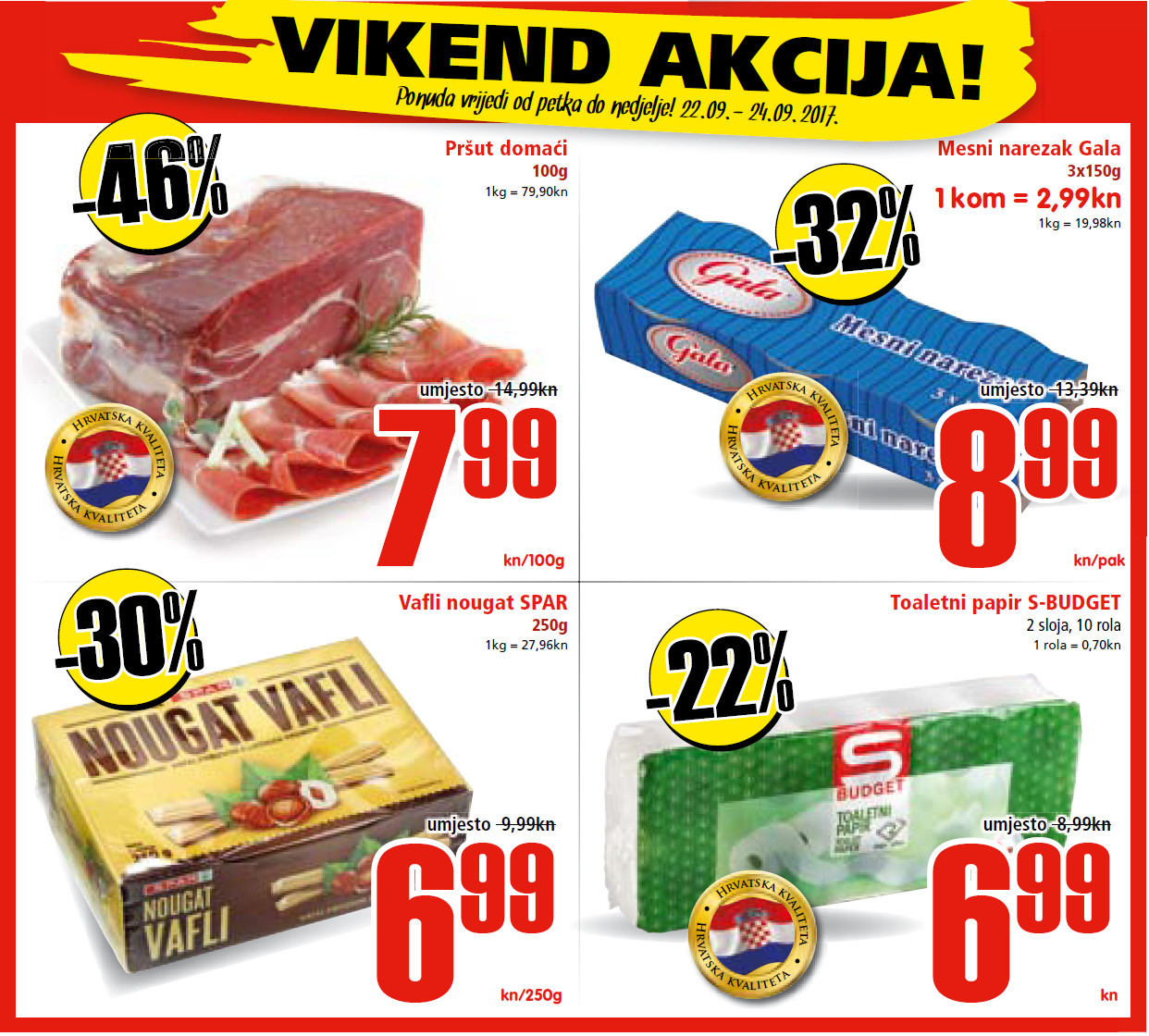 Ne propustite nova vikend sniženja od 22.- 24.09.2017. u Spar i Interspar supermarketima.
